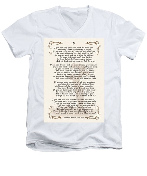 If Poem By Rudyard Kipling Men's V-Neck T-Shirt by Olga Hamilton