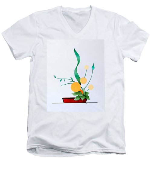 Ikebana #1 Red Pot Men's V-Neck T-Shirt by Thomas Gronowski