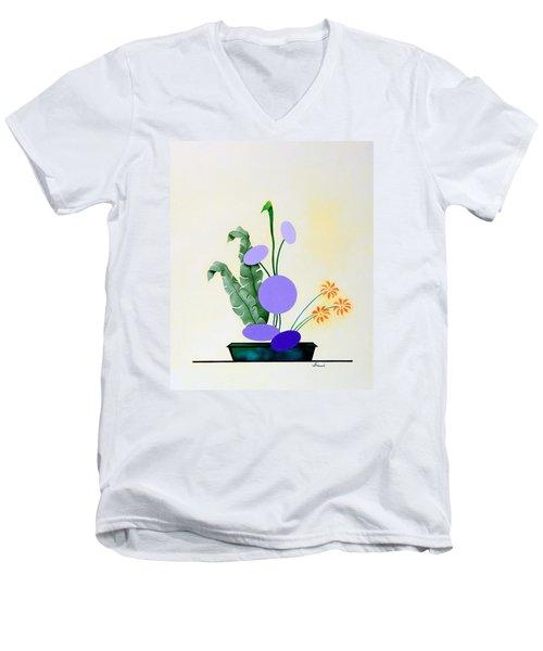Ikebana #2 Green Pot Men's V-Neck T-Shirt by Thomas Gronowski