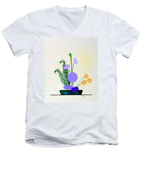 Ikebana #2 Green Pot Men's V-Neck T-Shirt