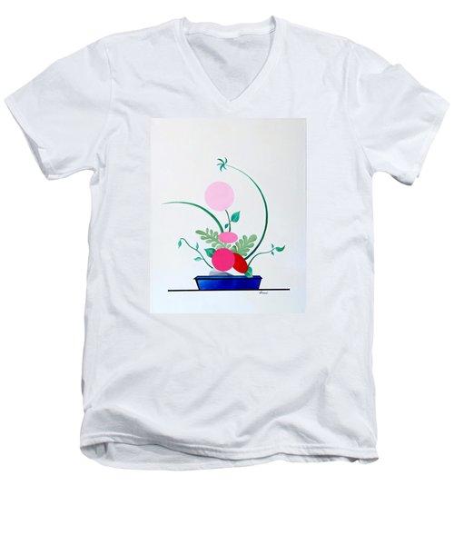 Ikebana #3 Blue Pot Men's V-Neck T-Shirt by Thomas Gronowski