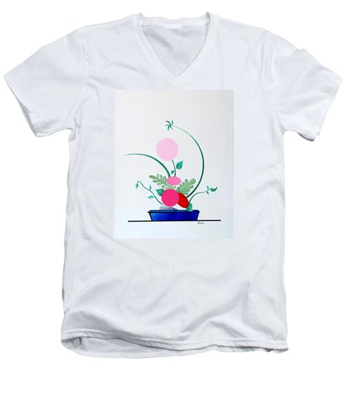 Ikebana #3 Blue Pot Men's V-Neck T-Shirt