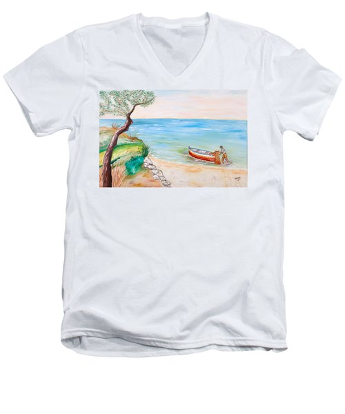 Men's V-Neck T-Shirt featuring the painting Il Pescatore Solitario by Loredana Messina