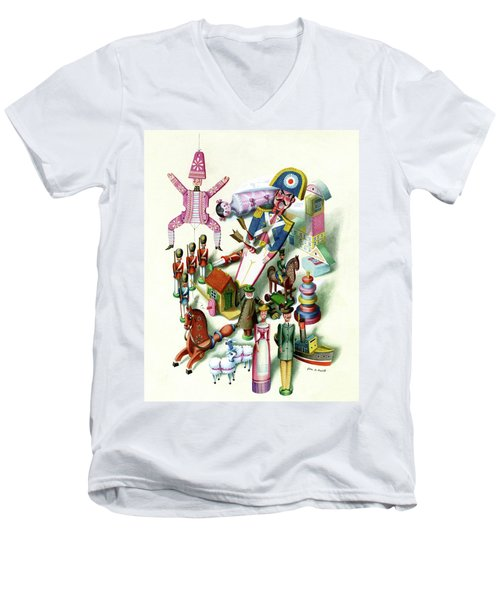 Illustration Of A Group Of Children's Toys Men's V-Neck T-Shirt