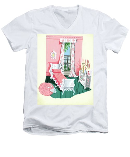 Illustration Of A Victorian Style Pink And Green Men's V-Neck T-Shirt