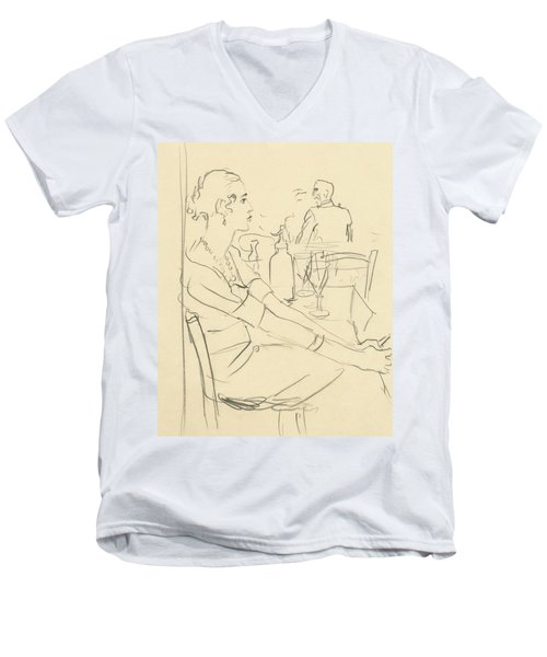 Illustration Of A Woman Sitting Down Men's V-Neck T-Shirt