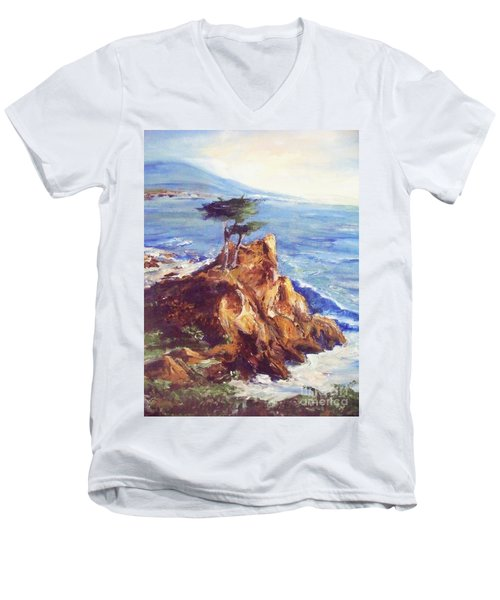 Men's V-Neck T-Shirt featuring the painting Imaginary Cypress by Eric  Schiabor