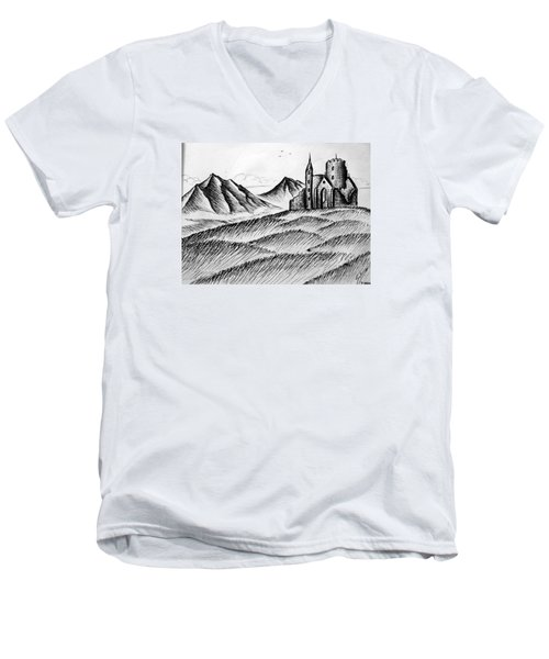 Men's V-Neck T-Shirt featuring the painting Imagination by Salman Ravish