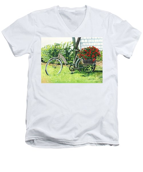 Men's V-Neck T-Shirt featuring the painting Impatiens To Ride by LeAnne Sowa