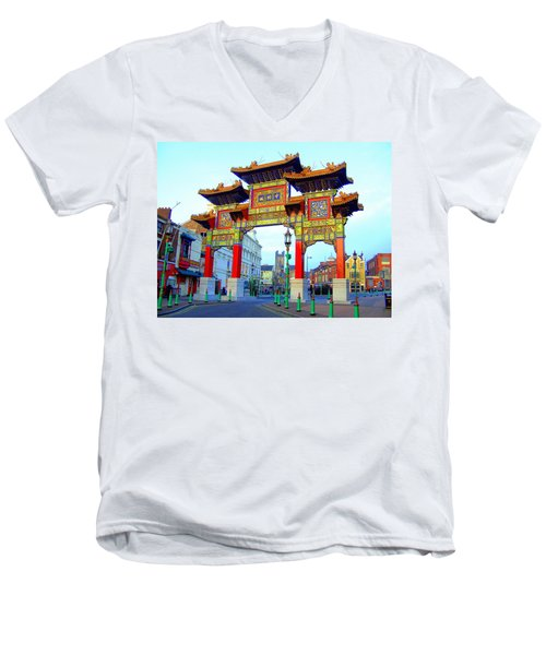 Imperial Chinese Arch Liverpool Uk Men's V-Neck T-Shirt
