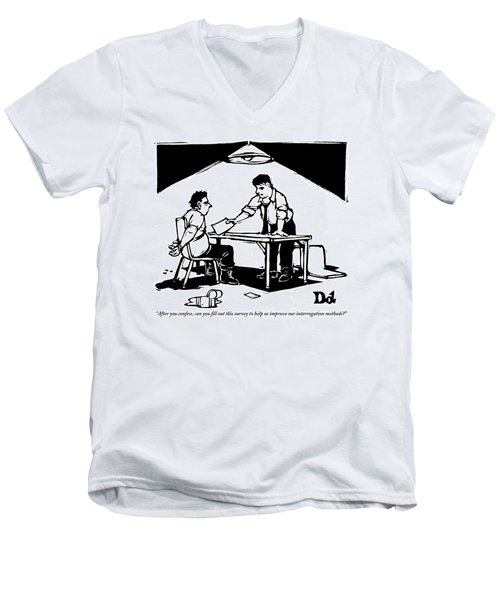 In A Stereotypical Interrogation Room Men's V-Neck T-Shirt