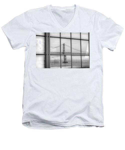 in a window the Bay Bridge Men's V-Neck T-Shirt