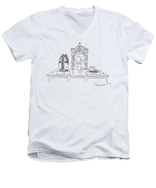 In And Out Boxes With Pope's Mitre And Yankees Cap Men's V-Neck T-Shirt
