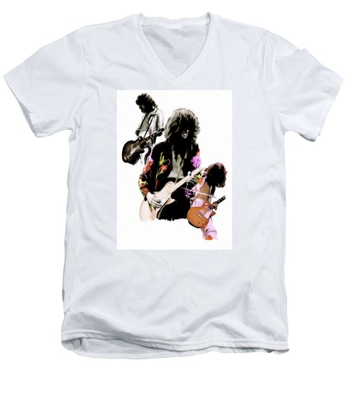 In Flight Iv Jimmy Page  Men's V-Neck T-Shirt by Iconic Images Art Gallery David Pucciarelli