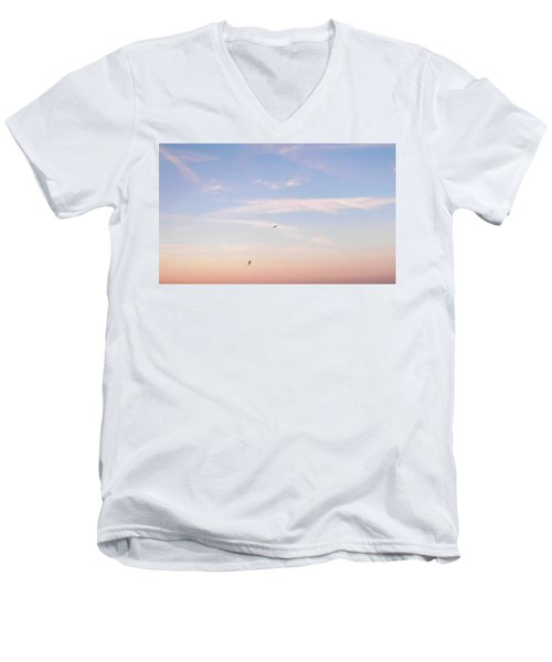 Men's V-Neck T-Shirt featuring the photograph In Flight Over Rehoboth Bay by Pamela Hyde Wilson