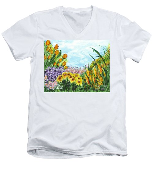 In My Garden Men's V-Neck T-Shirt by Holly Carmichael