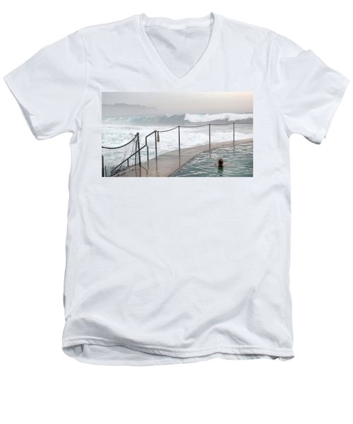 Men's V-Neck T-Shirt featuring the photograph In Safe Waters by Evelyn Tambour