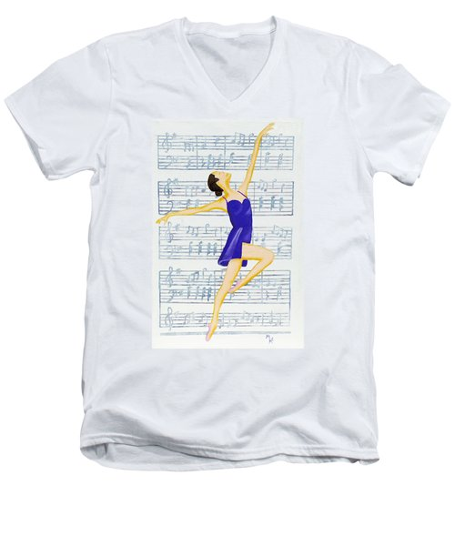 Men's V-Neck T-Shirt featuring the painting In Sync With The Music by Margaret Harmon