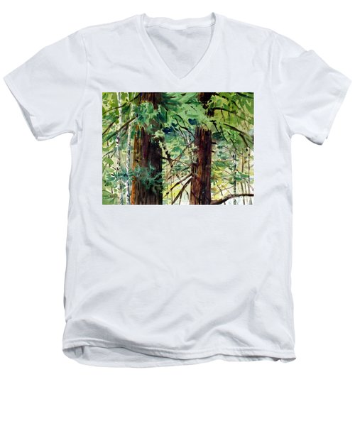 Men's V-Neck T-Shirt featuring the painting In The Canopy by Donald Maier