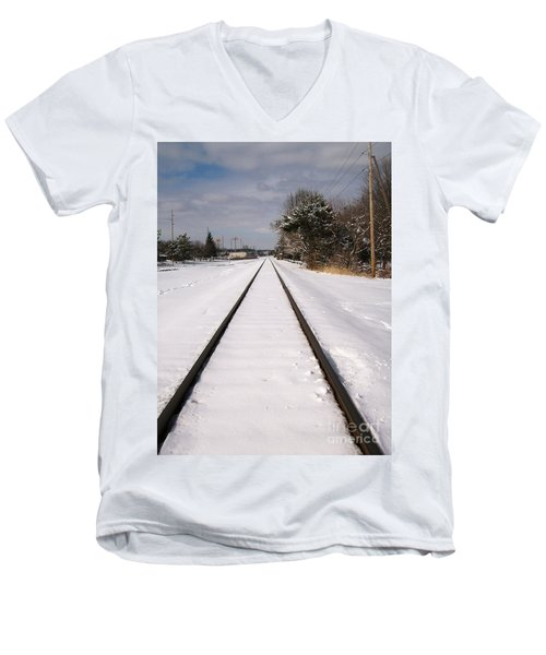 Men's V-Neck T-Shirt featuring the photograph In The Distance by Sara  Raber