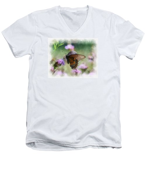 Men's V-Neck T-Shirt featuring the photograph In The Flowers by Kerri Farley