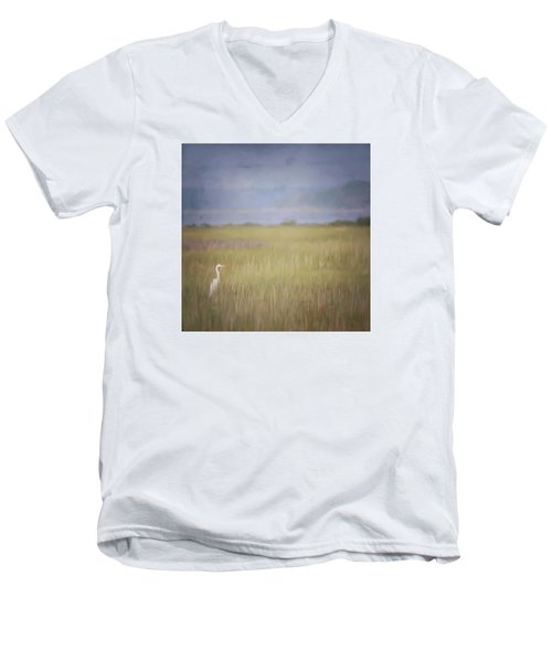 Men's V-Neck T-Shirt featuring the photograph In The Marsh  by Kerri Farley