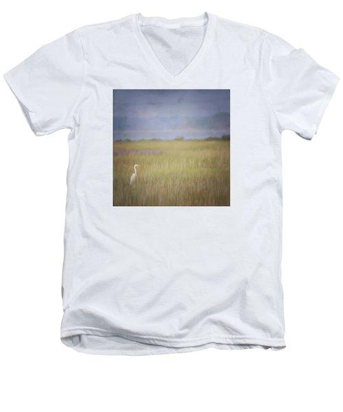 In The Marsh  Men's V-Neck T-Shirt by Kerri Farley