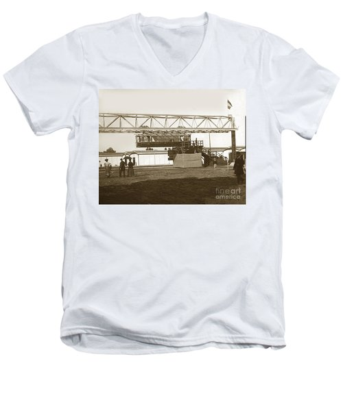 Men's V-Neck T-Shirt featuring the photograph Incredible Hanging Railway  1900 by California Views Mr Pat Hathaway Archives