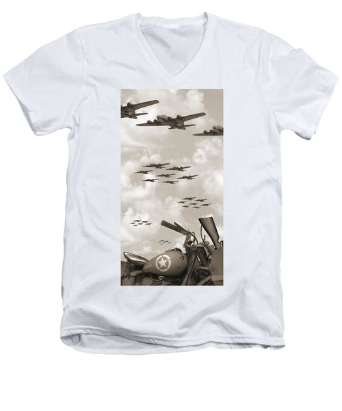 Indian 841 And The B-17 Panoramic Sepia Men's V-Neck T-Shirt