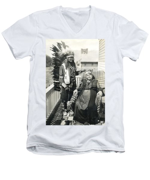 Men's V-Neck T-Shirt featuring the photograph Indian Chief And Woman by Charles Beeler