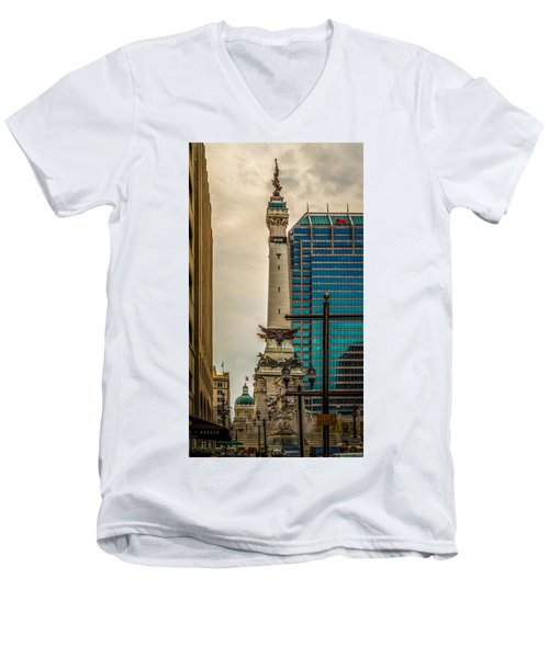 Indiana - Monument Circle With State Capital Building Men's V-Neck T-Shirt