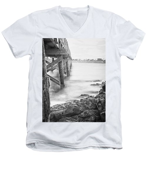 Men's V-Neck T-Shirt featuring the photograph Infrared View Of Stormy Waves At Stramsky Wharf by Jeff Folger