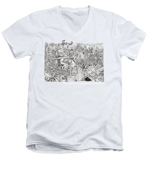 Men's V-Neck T-Shirt featuring the photograph Inky Orchid Pond by Adria Trail
