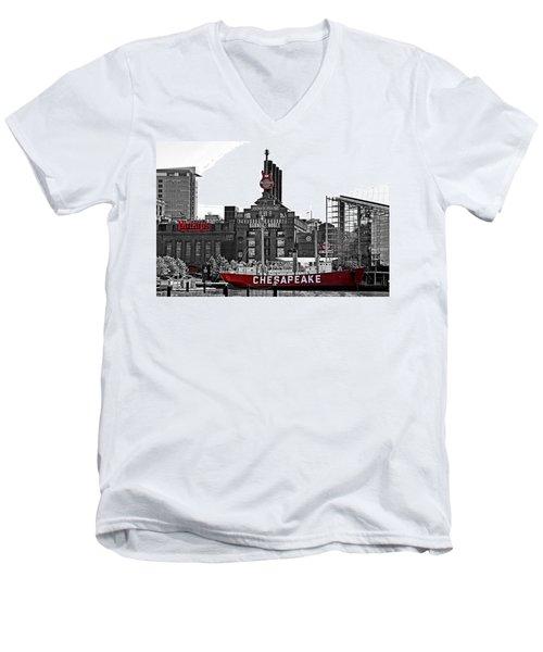 Inner Harbor Men's V-Neck T-Shirt by DJ Florek