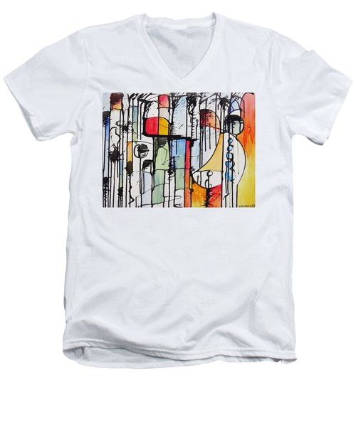 Men's V-Neck T-Shirt featuring the painting Internal Opposition by Jason Williamson