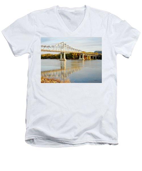 Interstate Bridge In Winona Men's V-Neck T-Shirt