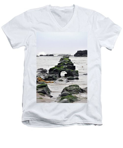 Men's V-Neck T-Shirt featuring the photograph Into The Ocean by Minnie Lippiatt