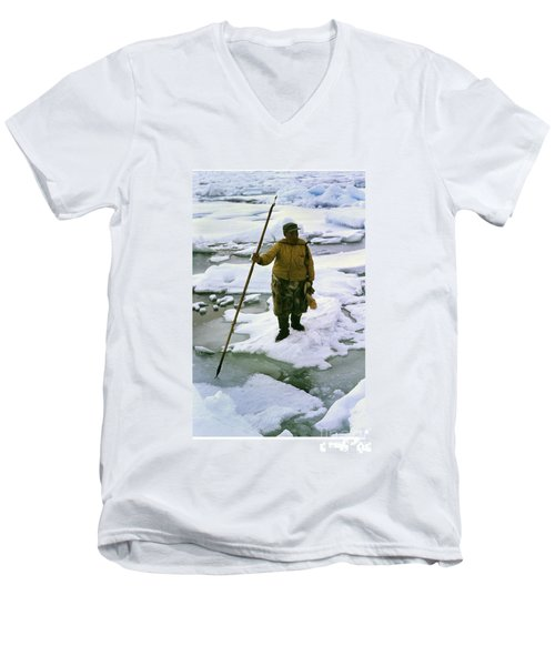 Men's V-Neck T-Shirt featuring the photograph Inuit Seal Hunter Barrow Alaska July 1969 by California Views Mr Pat Hathaway Archives