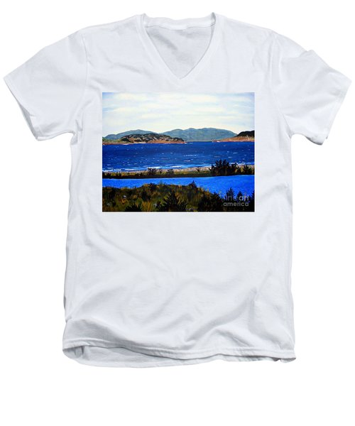 Men's V-Neck T-Shirt featuring the painting Iona Formerly Rams Islands by Barbara Griffin