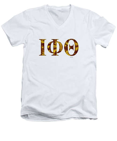 Men's V-Neck T-Shirt featuring the digital art Iota Phi Theta - White by Stephen Younts