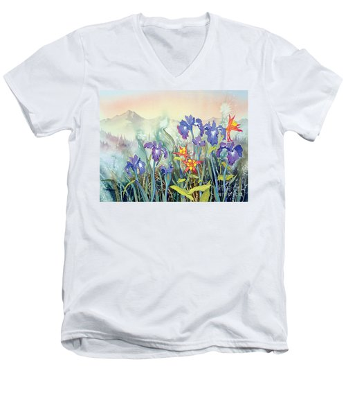 Men's V-Neck T-Shirt featuring the painting Iris And Columbine II by Teresa Ascone