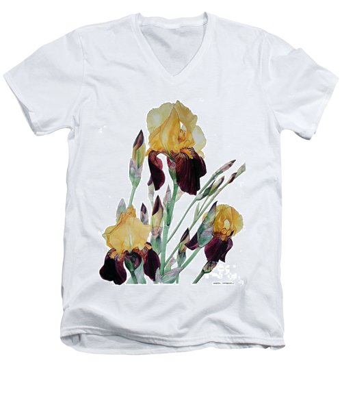 Watercolor Of Tall Bearded Iris In Yellow And Maroon I Call Iris Beethoven Men's V-Neck T-Shirt