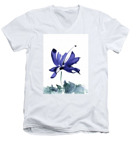 Men's V-Neck T-Shirt featuring the painting Iris In The Greenery Watercolor by Frank Bright