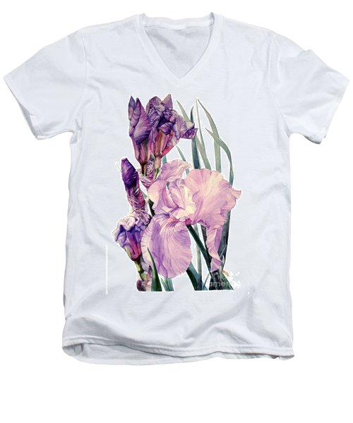 Watercolor Of An Elegant Tall Bearded Iris In Pink And Purple I Call Iris Joan Sutherland Men's V-Neck T-Shirt