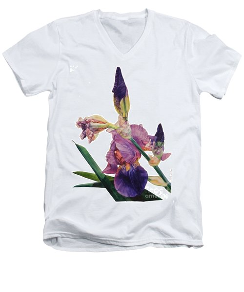 Watercolor Of A Tall Bearded Iris In A Color Rhapsody Men's V-Neck T-Shirt