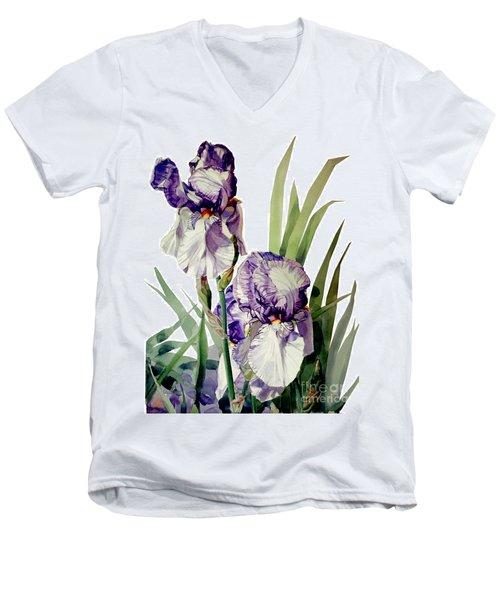 Watercolor Of A Tall Bearded Iris In Violet And White I Call Iris Selena Marie Men's V-Neck T-Shirt