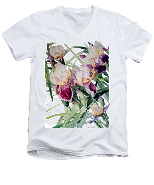 Watercolor Of Tall Bearded Irises I Call Iris Vivaldi Spring Men's V-Neck T-Shirt
