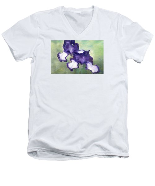 Irises Duet In Purple Flowers Colorful Original Painting Garden Iris Flowers Floral K. Joann Russell Men's V-Neck T-Shirt by Elizabeth Sawyer