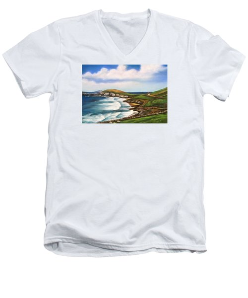 Dingle Peninsula Irish Coastline Men's V-Neck T-Shirt by Melinda Saminski