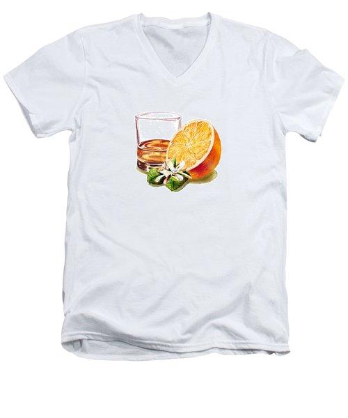 Irish Whiskey And Orange Men's V-Neck T-Shirt by Irina Sztukowski